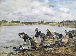 Eugene Boudin | Laundresses on the Banks of the Touques | Giclée Canvas Print