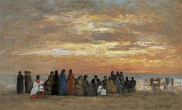 Eugene Boudin | Figures on the Beach in Trouville | Giclée Canvas Print