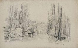 Eugene Boudin | River Landscape with Houses and Bridge, late 1850s | Giclée Paper Print