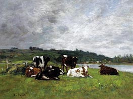 Eugene Boudin | Cows in the Pasture, c.1880/85 | Giclée Canvas Print