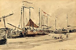 Eugene Boudin | Fishing Boats on the Beach at Scheveningen | Giclée Canvas Print