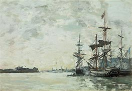 Eugene Boudin   Le Havre, Anchored Vessels in the Harbor, c.1868/72   Giclée Canvas Print