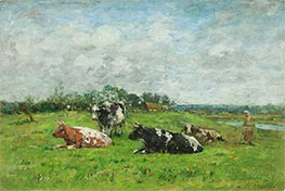Eugene Boudin   Pasture in Normandy, 1880s   Giclée Canvas Print