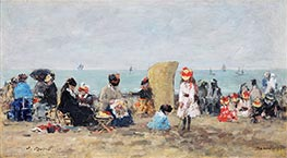 Eugene Boudin   Scene at the Beach in Trouville, 1881   Giclée Canvas Print