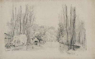 River Landscape with Houses and Bridge, late 1850s | Eugene Boudin | Giclée Paper Print