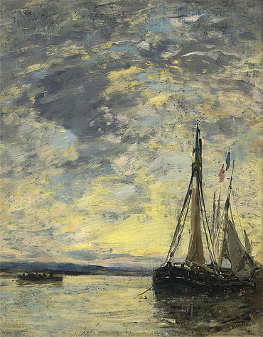 Sailing Boats at Quay, c.1885/90 | Eugene Boudin | Painting Reproduction