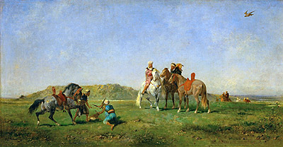 Hunting with Falcons in Algeria, 1862 | Eugene Fromentin | Giclée Canvas Print