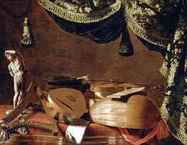 Baschenis | Still Life with Musical Instruments and a Statuette, c.1660 | Giclée Canvas Print