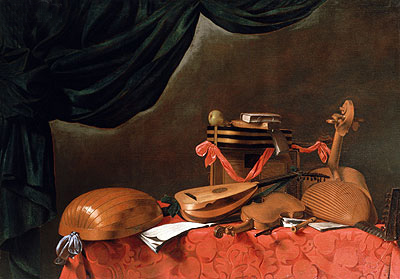 Still Life with Musical Instruments, undated   Baschenis   Painting Reproduction