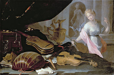 Still Life of Musical Instruments, with a Female Figure, Undated | Baschenis | Giclée Canvas Print