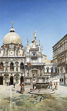 The Courtyard of the Doge's Palace, Venice, 1888 | Federico del Campo | Painting Reproduction