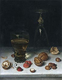 Floris van Dijck | Still Life with Walnuts, Hazelnuts and Strawberries | Giclée Canvas Print