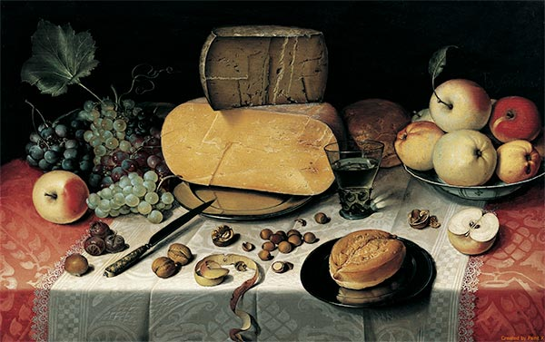 Still Life with Fruit, Nuts and Cheese, 1613 | Floris van Dijck | Giclée Canvas Print