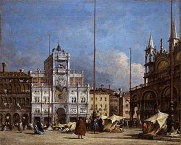 Francesco Guardi | The Square at St. Mark's, Venice - A View of the Facade of the Torre dell' Orologio, c.1785 | Giclée Canvas Print