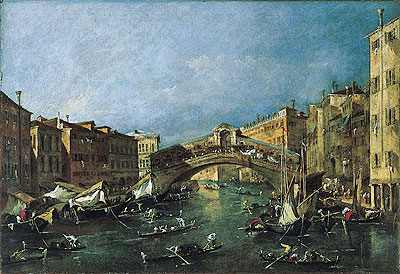 View of the Rialto, Venice from the Grand Canal, c.1780/90 | Francesco Guardi | Painting Reproduction