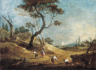 A Pastoral Landscape with Peasants Hoeing and a Washerwoman Before Some Trees, c.1770   Francesco Guardi   Giclée Canvas Print