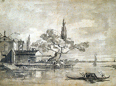 Chapel on Small Island, undated | Francesco Guardi | Painting Reproduction
