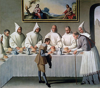 Zurbaran | St. Hugh of Cluny in the Refectory of the Carthusians, 1633 | Giclée Canvas Print