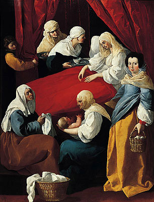 The Birth of the Virgin, c.1627 | Zurbaran | Painting Reproduction