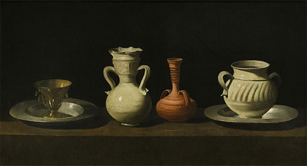 Still Life with Vessels, c.1650 | Zurbaran | Painting Reproduction