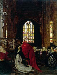 Frank Cadogan Cowper | Mephistopheles and Marguerite in the Cathedral | Giclée Canvas Print