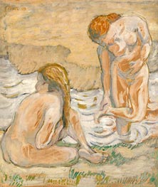Franz Marc | Two Bathing Women (Act Composition II), 1909 | Giclée Canvas Print