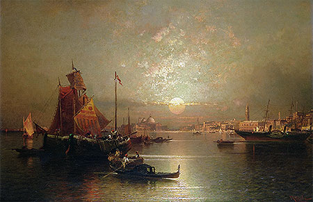 Shipping on the Lagoon, Venice at Sunset, undated | Unterberger | Giclée Canvas Print