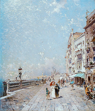 The Molo, Venice, Looking West with Figures Promenading, undated | Unterberger | Painting Reproduction
