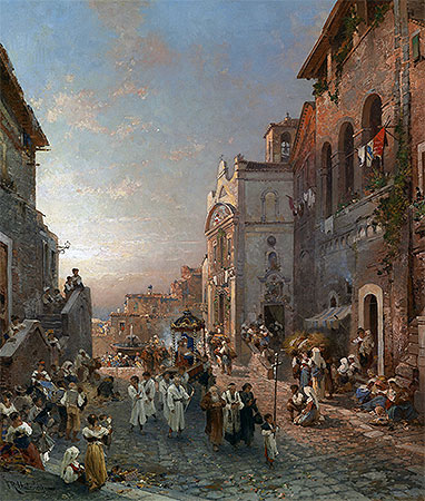 Religious Procession in Italian City, undated | Unterberger | Giclée Canvas Print
