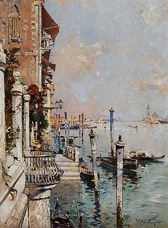 Venice, View of a Canal across the Grand Canal towards the Church of San Giorgio, 1902 | Unterberger | Painting Reproduction