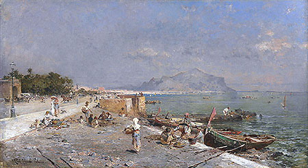On the Waterfront, Palermo, undated | Unterberger | Giclée Canvas Print