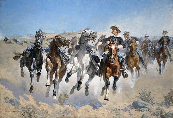 Dismounted: The Fourth Troopers Moving the Led Horses, 1890 | Frederic Remington | Giclée Canvas Print