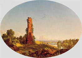 Frederic Edwin Church | New England Landscape with Ruined Chimney | Giclée Canvas Print