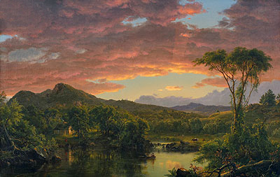 Frederic Edwin Church | A Country Home, 1854 | Giclée Canvas Print