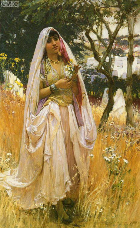 Moorish Girl, Algiers Countryside, 1880 | Frederick Arthur Bridgman | Giclée Canvas Print