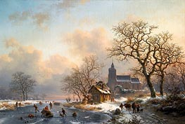 Kruseman | A Winter Landscape with Skaters on a Frozen River, 1867 | Giclée Canvas Print