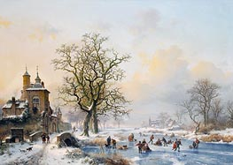 Kruseman | Winter Landscape with Skaters near a Castle, undated | Giclée Canvas Print