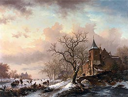 Kruseman | Castle in a Winter Landscape and Skaters on a Frozen River | Giclée Canvas Print