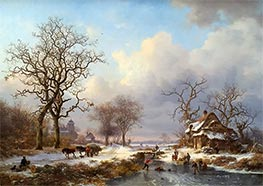 Kruseman | Dutch Winter Landscape with Skaters, 1864 | Giclée Canvas Print