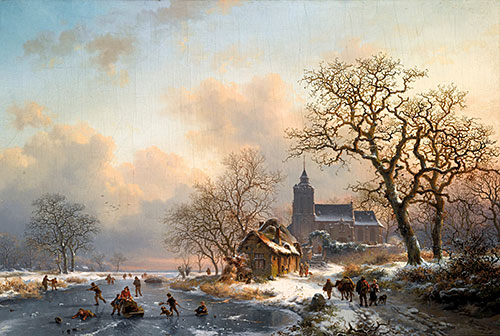 A Winter Landscape with Skaters on a Frozen River, 1867 | Kruseman | Painting Reproduction
