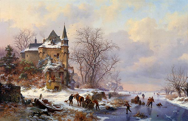 Winter Landscape with Skaters in front of a Castle, 1871 | Kruseman | Painting Reproduction