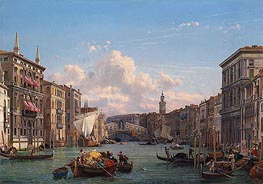 Friedrich Nerly | A View of the Grand Canal Looking towards the Rialto Bridge, Venice, undated | Giclée Canvas Print