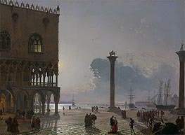 Friedrich Nerly | A Moonlit View of the Piazza San Marco towards San Giorgio Maggiore | Giclée Canvas Print