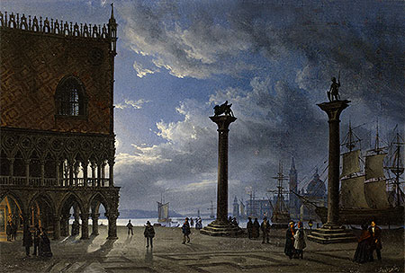 Piazza San Marco by Moonlight, 1847 | Friedrich Nerly | Giclée Canvas Print