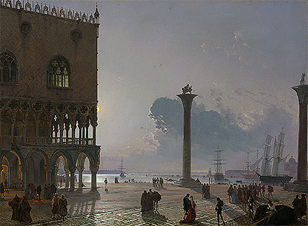 A Moonlit View of the Piazza San Marco towards San Giorgio Maggiore, 1849   Friedrich Nerly   Giclée Canvas Print