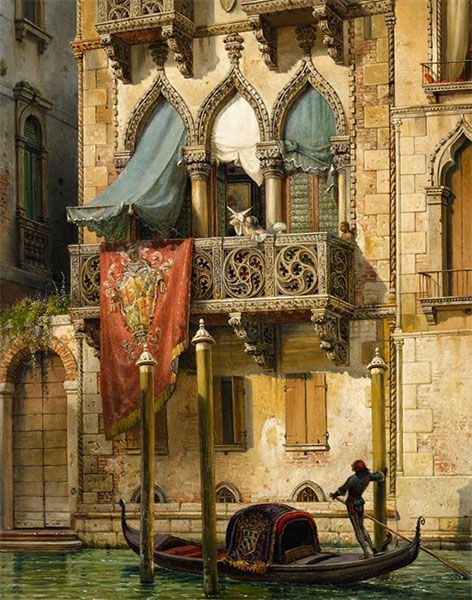 The Palazzo Contarini in Venice (The House of Desdemona), 1855 | Friedrich Nerly | Giclée Canvas Print