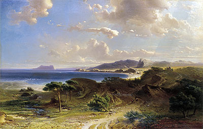 The Beach at Estepona with a View of the Rock of Gibraltar, 1855 | Fritz Bamberger | Giclée Canvas Print