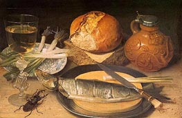 Georg Flegel | Fish Still Life with Stag-Beetle, 1635 | Giclée Canvas Print