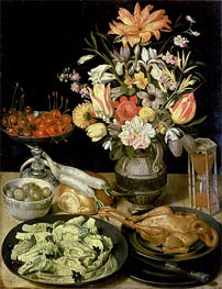 Georg Flegel | Still Life with Flowers and Snacks, c.1630/35 | Giclée Canvas Print