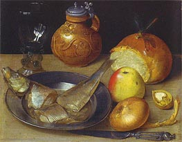Georg Flegel | Still Life with Herring and Bearded Man Jug | Giclée Canvas Print